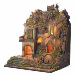 Village crèche napolitaine style 1700 petite fontaine 50x50x40 cm s3