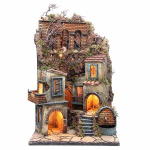 Village for Neapolitan Nativity with light and fountain measuring 60x40x40cm s1