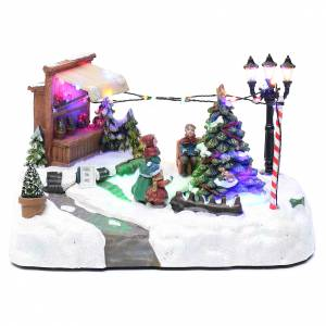 Villages de Noël miniatures: Village Noël avec vente de sapins musique 20x25x20 cm mouvement