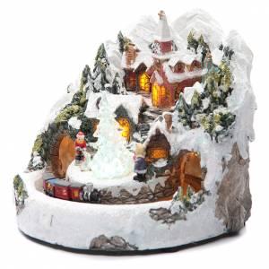 Villages de Noël miniatures: Village Noël électrique avec train 20x20 cm