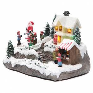 Villages de Noël miniatures: Village Noël Père Noël 25x15x15 cm