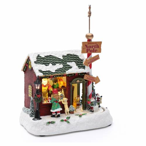 Villaggio natalizio casa Babbo Natale luminoso musicale movimento nani 30X25X17 cm s3