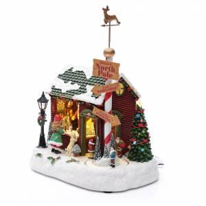 Villaggio natalizio casa Babbo Natale luminoso musicale movimento nani 30X25X17 cm s2
