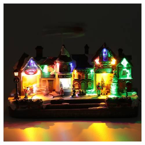 Villaggio natalizio luminoso musica movim renne albero natale lago ghiacciato 27X41X17 cm s4