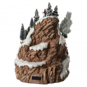 Villaggio natalizio montagna musicale illuminato e movimenti 30x30x40 s4