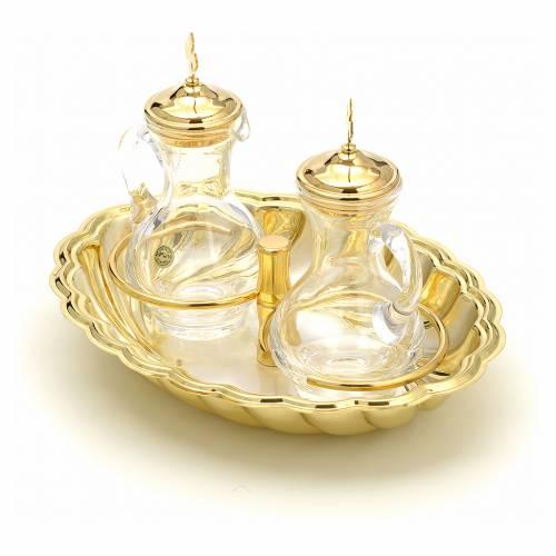Vinajeras cristal plato plateado y dorado s2