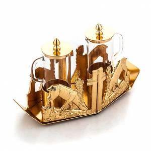 Vinajeras Metal: Vinajeras doradas ciervo a la fuente