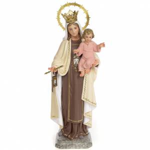 Hand painted wooden statues: Virgin of Mount Carmel 40cm, wood paste, fine decoration