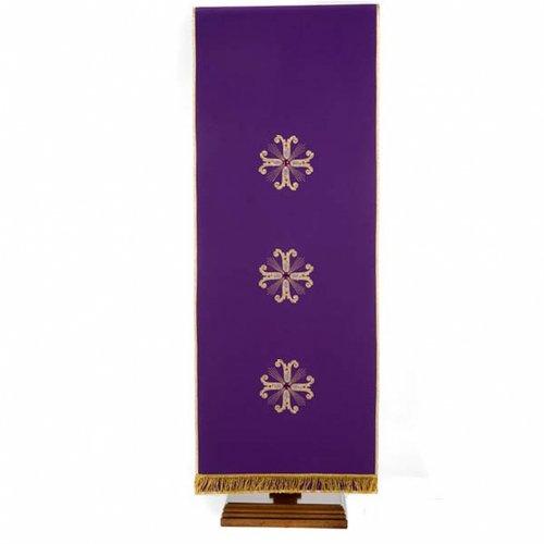 Voile de lutrin 3 croix dorées perles verre s4