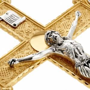 Vortragekreuze und Ständer: Vortragekreuz aus Messing mit 4 Evangelisten Symbolen