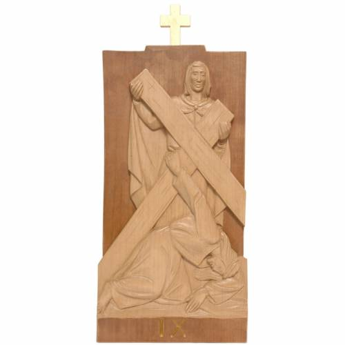 Way of the Cross 14 stations 40x20cm patinated Valgardena wood s2