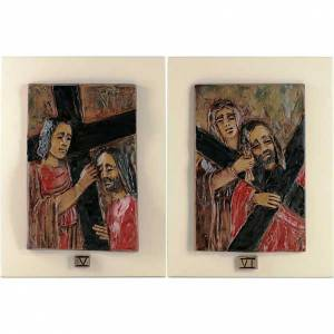 Way of the Cross in majolica backed with wood, 14 stations s4