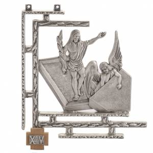 Way of the Cross: Way of the cross in silver plated bronze, 15 stations