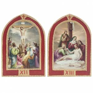 Way of the Cross printed on wood with a red frame, 15 stations s9