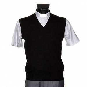 Jacken, Westen, Pullover: Weste V-Kragen Schwarz Wolle und Acryl