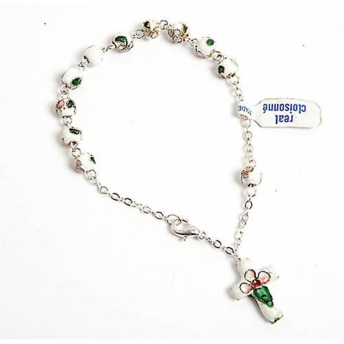 White cloisonnè rosary bracelet 6mm s1