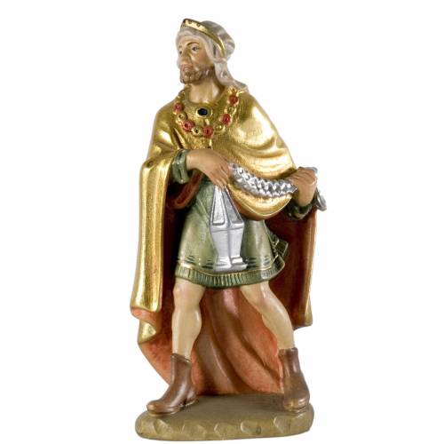 White Wise King wooden figurine 12cm, Val Gardena Model s1