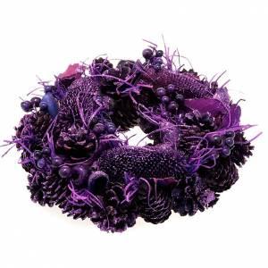 Dekoracje bożonarodzeniowe do domu: Wianuszek bożonarodzeniowy fioletowy szyszki jagody