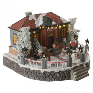 Christmas villages sets: Winter village school with music and playground 25x25x15 cm