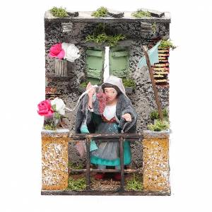 Woman at the balcony animated figurine for Neapolitan Nativity, 10cm s1