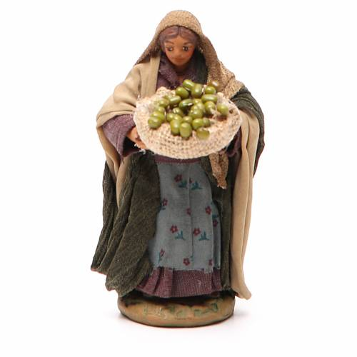 Woman with olives basket in hands 10cm neapolitan Nativity s1