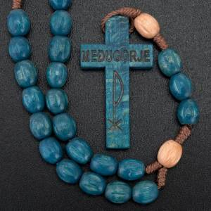 Wood Medjugorje rosary with coloured beads s5