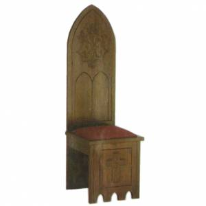 Wooden chair, gothic style 150x47x47 cm, Marian symbol s1