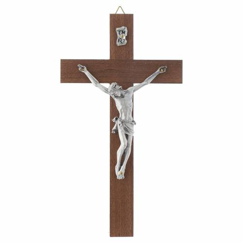 Wooden crucifix and metal body of Christ s1