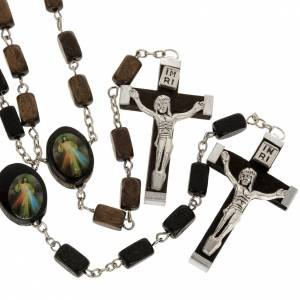 Wooden rosary beads with rectangular grains s1