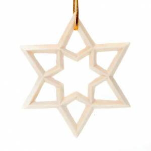 Christmas tree ornaments in wood and pvc: Wooden star