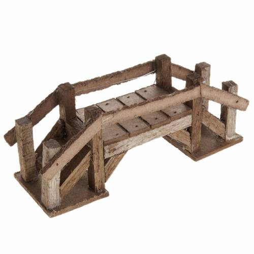 Accessoire crèche noël pont en bois foncé s1