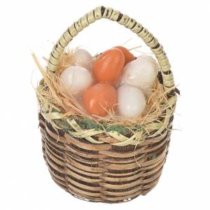 Miniature food: Accessory for nativities of 20-24cm, basket with eggs in wax