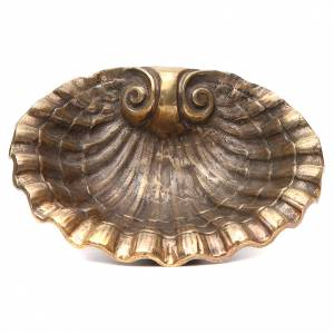 Acquasantiere: Acquasantiera conchiglia ottone bronzato 23x28 cm