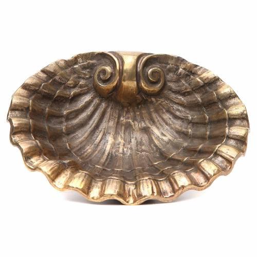 Acquasantiera conchiglia ottone bronzato 23x28 cm s1