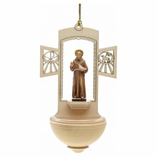 Acquasantiera legno San Francesco d'Assisi dipinta s1