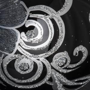 Addobbo albero Natale sfera vetro nero argento 10 cm s5