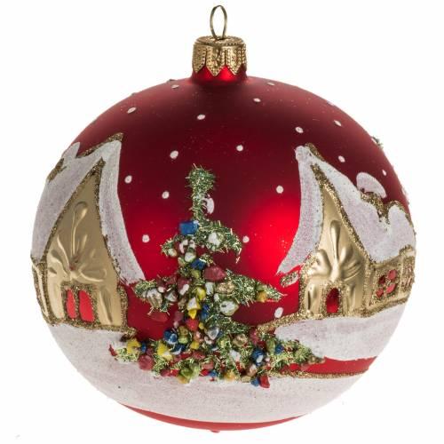 Addobbo albero Natale vetro rosso paese neve 12 cm s1