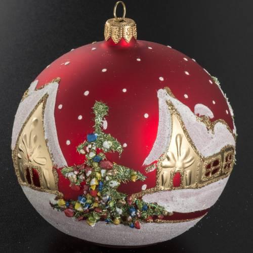 Addobbo albero Natale vetro rosso paese neve 12 cm s2
