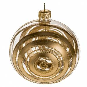 Addobbo albero vetro soffiato decori oro 8 cm s1
