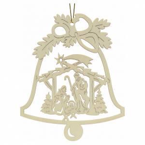 Addobbo Natale campanella con presepe legno s1