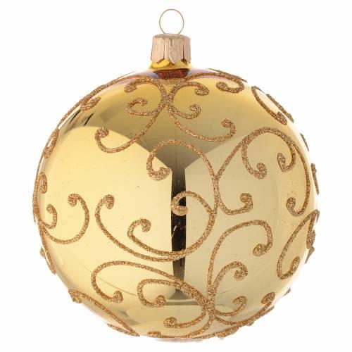 Addobbo palla vetro decoro arabesco oro 100 mm s2