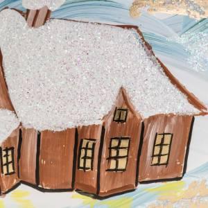 Adorno árbol de Navidad vidrio pintado 10 cm. con pueblo s2
