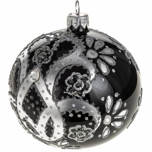 Adorno árbol de Navidad vidrio transparente plateado 10 c s1