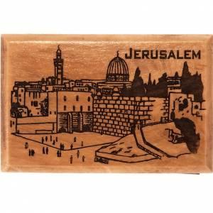 Magnets religieux: Aimant en bois d'olivier, ville de Jérusalem