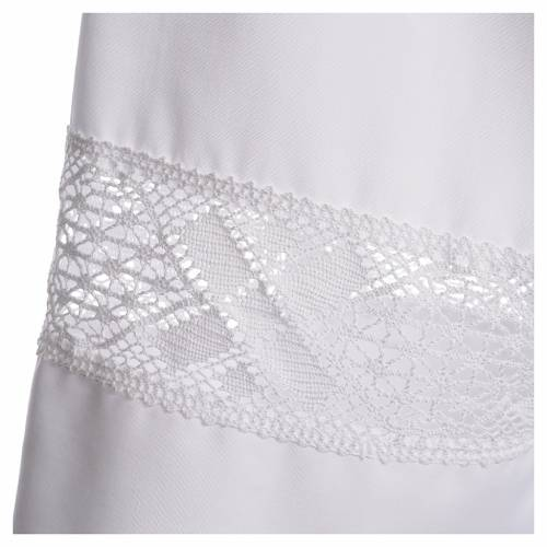 Alb with lace in 65% polyester 35% cotton, white s3