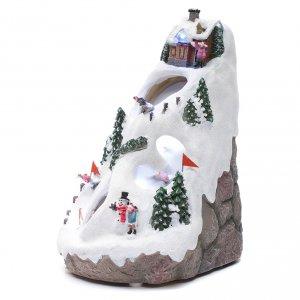 Aldea navideña iluminada musical movimiento esquiadores s2
