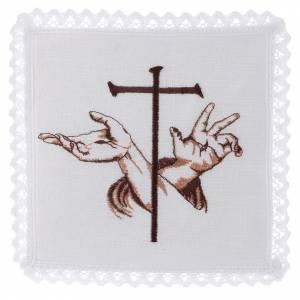 Altar linens: Altar linen Stigmata hands of Jesus & Cross