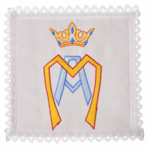 Altar linens set, 100% linen with stylised Marian symbol s1
