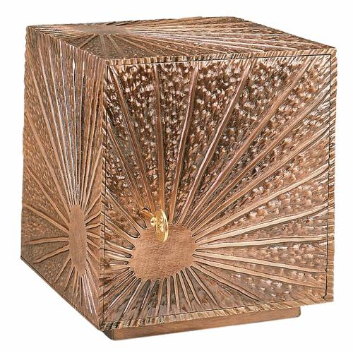 Altar tabernacle, stylized motif in copper-plated brass s1