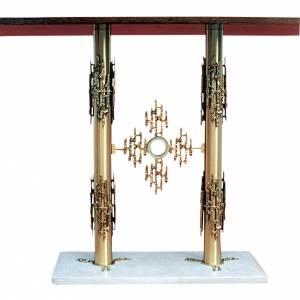 Amboni, inginocchiatoi, complementi d'arredo: Altare ottone 2 colonne base marmo cm 90x140x60